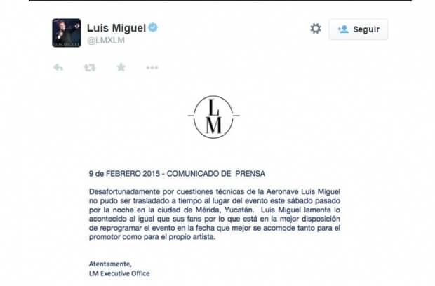 Canceló Luis Miguel show por borracho: empresario