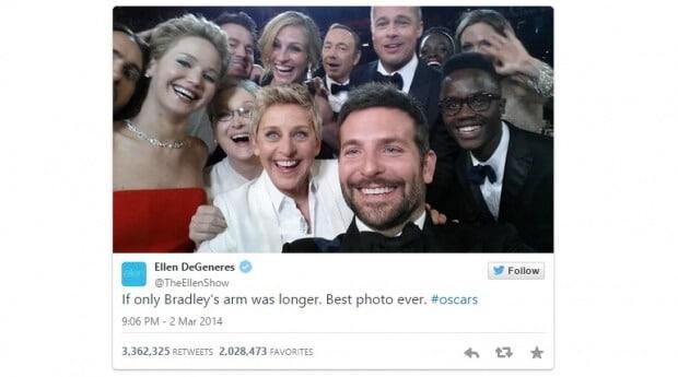 Ellen DeGeneres volvió viral una selfie en los Oscars de 2014
