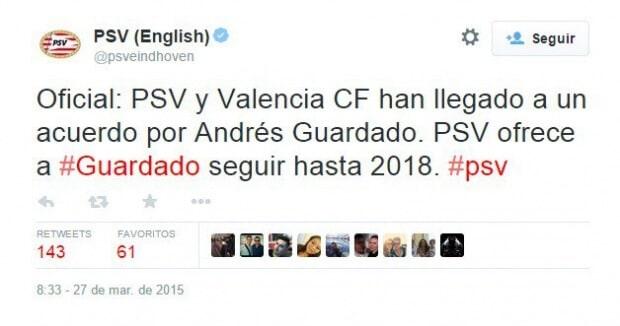 PSV quiere a Guardado