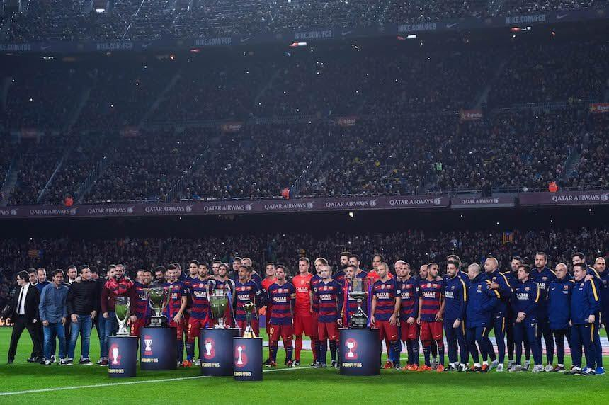 BARCELONA, SPAIN - DECEMBER 30:  FC Barcelona players pose with La Liga, UEFA Champions League, Copa del Rey, UEFA Supercup and FIFA Club World Cup trophies prior to the La Liga match between FC Barcelona and Real Betis Balompie at Camp Nou on December 30, 2015 in Barcelona, Spain.  (Photo by David Ramos/Getty Images)